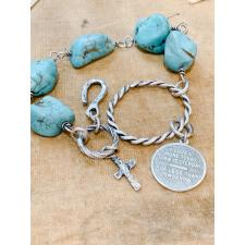 Turquoise Single wrap Bracelet I Love you more